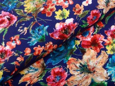 Jersey - gemalte Blumen - blau