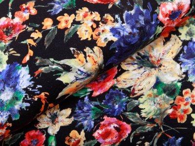Jersey - gemalte Blumen - schwarz