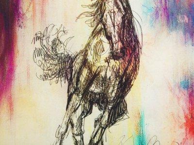 Jersey Digitaldruck Stenzo PANEL ca. 160 x 145 cm - gezeichnetes Pferd - schlamm