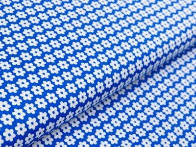 Webware Baumwolle Daisy - Blüten - royalblau