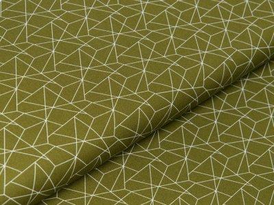 Webware Baumwolle - geometrisches Muster - olivgrün