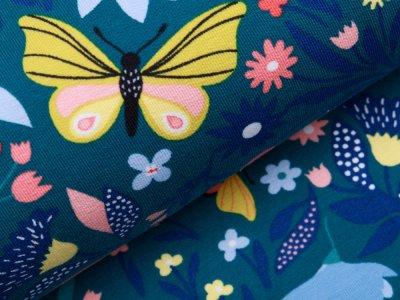 Sweat French Terry - Schmetterlinge und Blumen - petrol