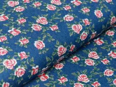 Elastischer Jeansstoff - Rosengarten - denim blau
