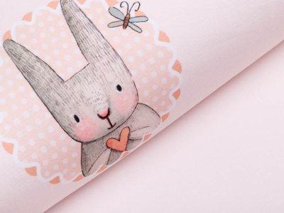 Jersey Digitaldruck PANEL 100 cm x 150 cm - Häschen mit Herz - puderrosa