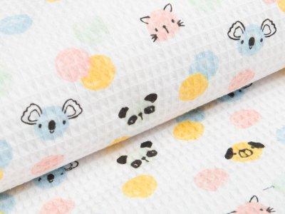 Waffelpiqué Baumwolle - Konfetti mit Tiergesichter - weiß