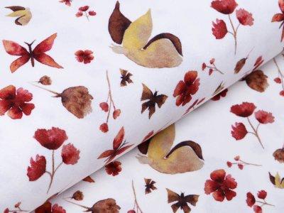 Jersey-Feinstrick Snoozy Digitaldruck Pointoille Lochmuster Wieber - Aquarelle Schmetterlinge - creme