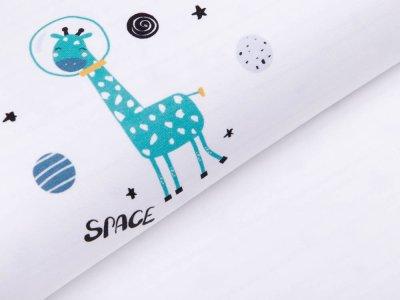 Jersey Digitaldruck PANEL 100 cm x 150 cm - Space Giraffe - weiß