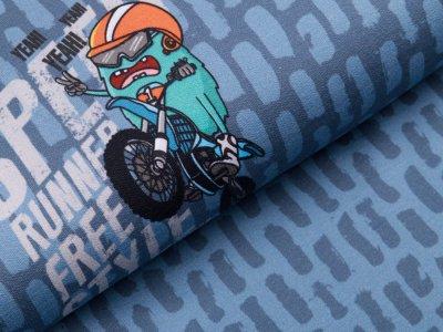 Jersey Digitaldruck PANEL 75 cm x 150 cm - verrückte Monster - jeansblau