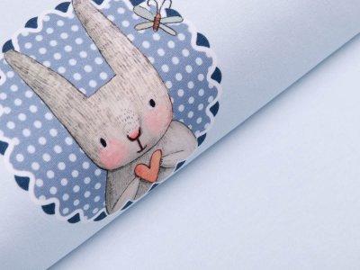 Jersey Digitaldruck PANEL 100 cm x 150 cm - Häschen mit Herz - babyblau