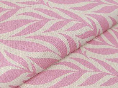 Canvas Leinenoptik - Blätter-Wedel - natur/rosa