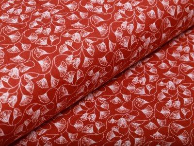 Musselin Baumwolle Hydrofiel Double Gauze -  Ginkgo-Blätter - terrakotta