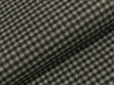 Tweed - Karos - olivgrün - grau