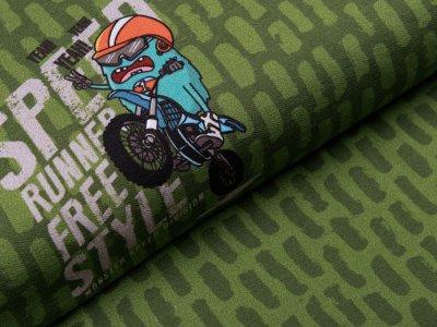 Jersey Digitaldruck PANEL 75 cm x 150 cm - verrückte Monster - moosgrün