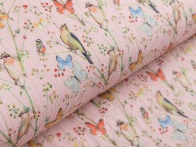 Musselin Baumwolle Hydrofiel Gauze - Vögel und Schmetterlinge - rosa