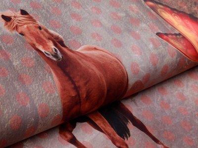 Jersey Digitaldruck PANEL 120 cm x 150 cm - Pferd mit Schleife - braun