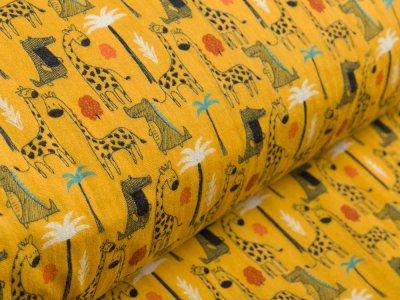 Musselin Baumwolle Hydrofiel Gauze - Giraffen und Krokodile - ocker