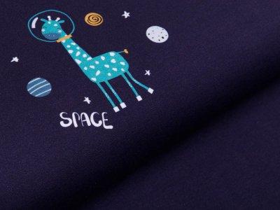 Jersey Digitaldruck PANEL 100 cm x 150 cm - Space Giraffe - nachtblau
