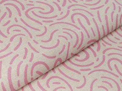 Canvas Leinenoptik - abstraktes Muster - natur/rosa