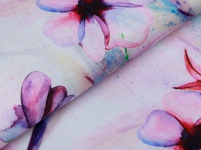 Webware Leinen Digitaldruck - Blüten - wollweiß/rosa