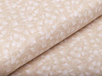 Musselin Baumwolle Hydrofiel Double Gauze -  Ginkgo-Blätter - beige