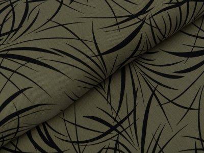Viskose Cupro Touch Carmela glänzend - Blätterblumen - khaki