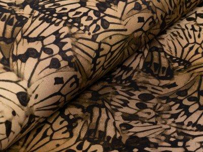 Jeansstoff bedruckt - abstrakte Schmetterlinge - olive