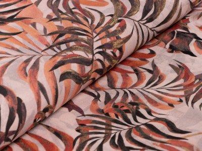 Webware Viskose - Blätterdschungel - zartes rosa
