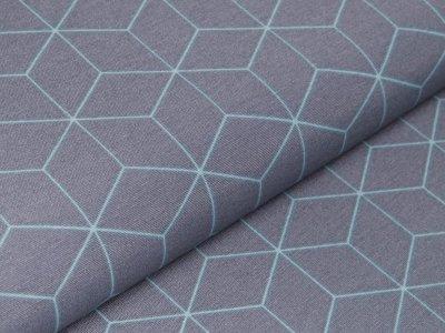 Canvas Leinenlook Ottoman - geometrische Formen - grau/mint