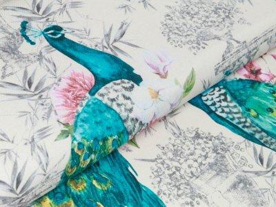 Canvas Digitaldruck Panama - wunderschöne Pfauen - wollweiß
