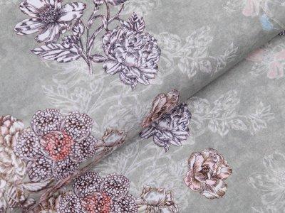 Webware Popeline Baumwolle Digitaldruck - Blumen - lindgrün