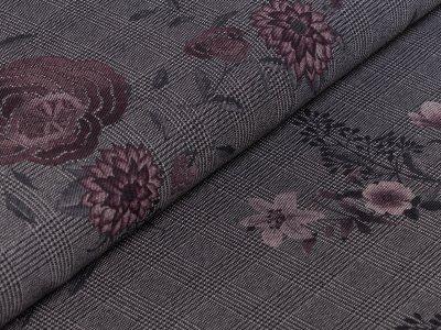 Elastischer Jeansstoff bedruckt - Blüten auf Hahnentrittmuster - schwarz