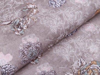 Webware Popeline Baumwolle Digitaldruck - Blumen - khakigrün