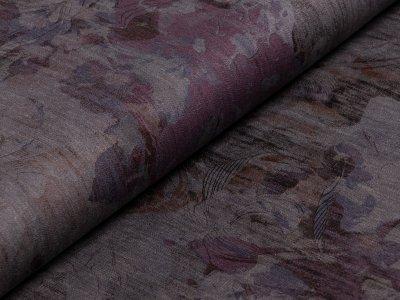 High-Stretch-Jeansstoff bedruckt - abstrakte Blattzeichnungen - grau