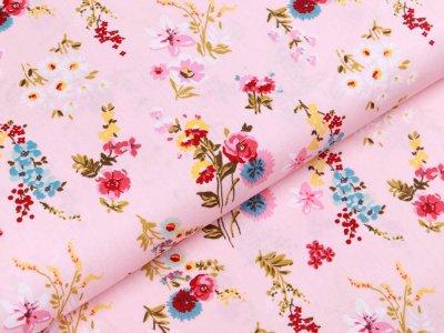 Webware Popeline Baumwolle - Blumensträuße - rosa