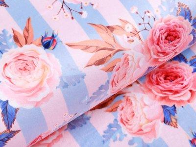 Softshell Jackenstoff -  Rosen auf Streifen - rosa