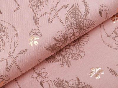 Jersey mit Foliendruck - Flamingos - altrosa