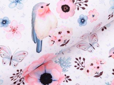 Softshell Jackenstoff - Rotkehlchen und Schmetterlinge - weiß