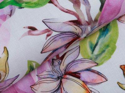 Webware Leinen Digitaldruck - Stielblumen - wollweiß/lila