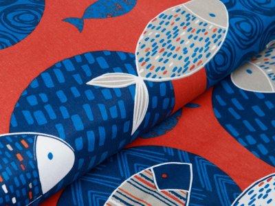 Französischer Canvas - coole Fische - terrakotta