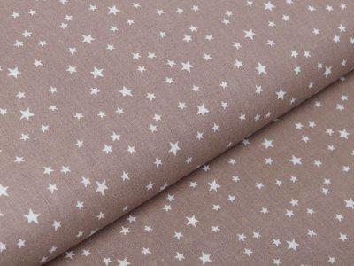 Französische Webware Baumwolle - unregelmäßige Sterne - taupe