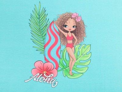 Jersey Digitaldruck Stenzo PANEL ca. 75 x 150cm - Aloha Mädchen - blau/rosa
