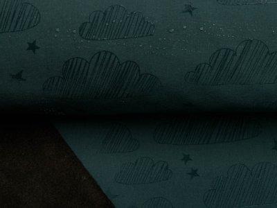 Jackenstoff Magic Softshell - Wolken und Sterne - olive
