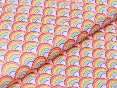 Webware Baumwolle Swafing Kim -  viele Regenbögen - weiß