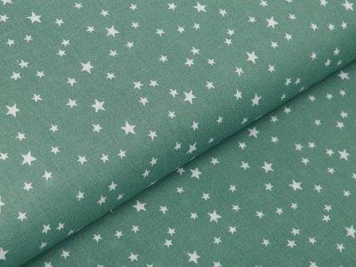 Französische Webware Baumwolle - unregelmäßige Sterne - altgrün