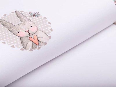 Jersey Digitaldruck PANEL 100 cm x 150 cm - Häschen mit Herz - weiß