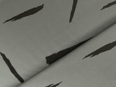 Reflektierender Jackenstoff  - breite Pinselstiche - silbergrau/schwarz