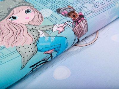 Sweat French Terry PANEL ca. 75 x 150 cm - Mädchen auf dem Fahrrad - aqua