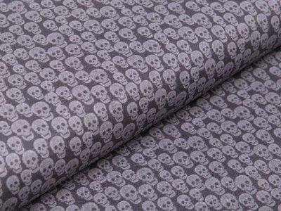 Webware Perkal-Baumwolle Digitaldruck - kleine Totenschädel - grau