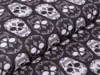 Webware Perkal-Baumwolle Digitaldruck - geblümte Totenköpfe - grau