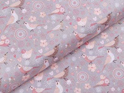 Webware Popeline Baumwolle - Vogelfamilie - grau